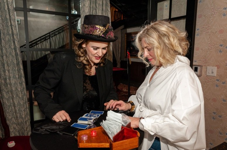 Tarot Readings with two women at event
