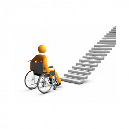 wheelchair guy facing flight of stairs